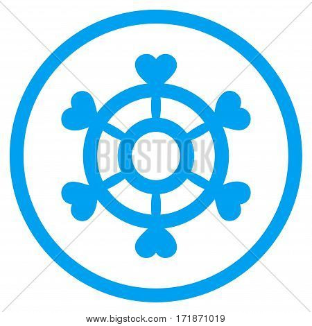 Lovely Boat Steering Wheel rounded icon. Vector illustration style is flat iconic bicolor symbol inside circle blue and gray colors white background.