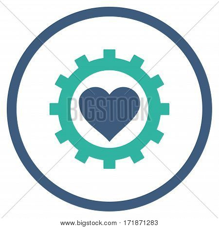 Love Heart Options Gear rounded icon. Vector illustration style is flat iconic bicolor symbol inside circle cobalt and cyan colors white background.