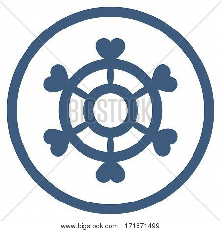 Lovely Boat Steering Wheel rounded icon. Vector illustration style is flat iconic bicolor symbol inside circle cobalt and cyan colors white background.