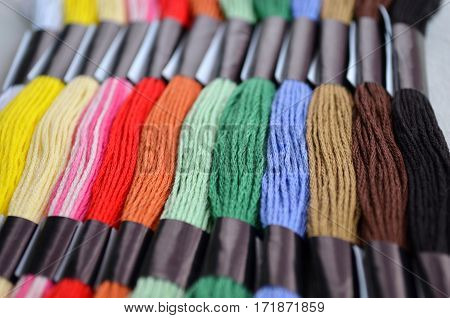 set mouline silk threads of different colours