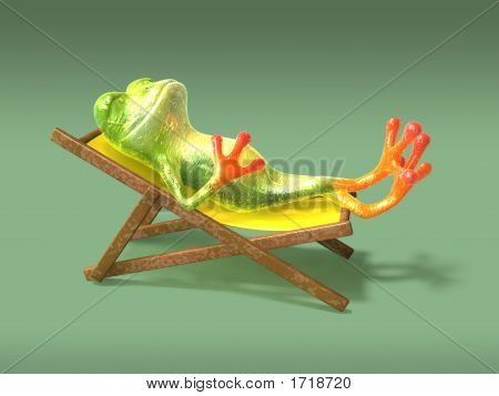 Frog relaxing in the sun in a long-chair 3D generated poster