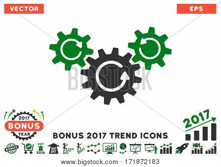 Green And Gray Transmission Wheels Rotation pictograph with bonus 2017 trend icon set. Vector illustration style is flat iconic bicolor symbols white background.