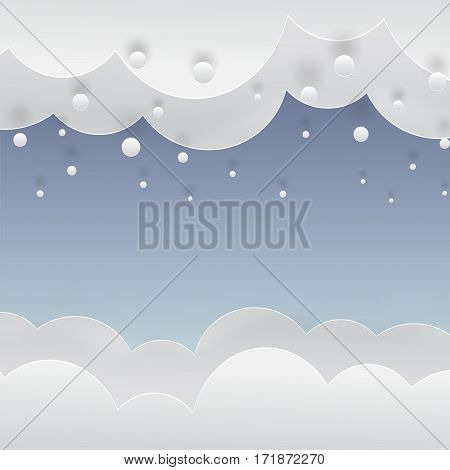winter blue background with falling snow, clouds and snowdrift, paper cut out art style