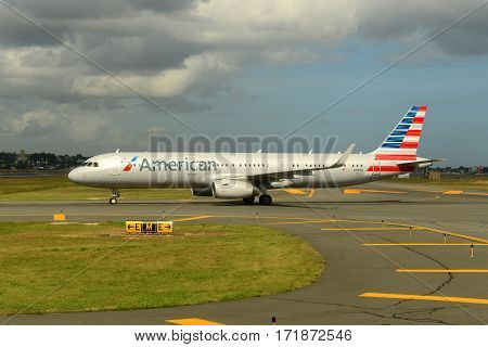 BOSTON - SEP. 29, 2015: American Airlines Airbus 321 taxiing at Boston Logan International Airport, Boston, Massachusetts, USA.