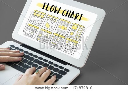 People working using laptop about flow chart on the screen