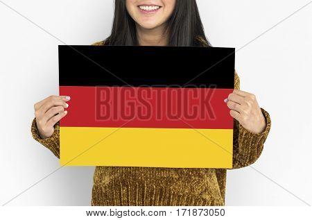 Woman Hands Hold Germany Deutschland Flag Patriotism