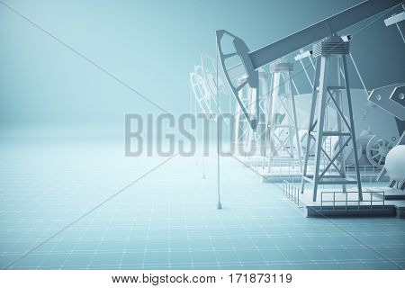 Side view of several oil derricks on blue mesh background. Industry concept. 3D Rendering
