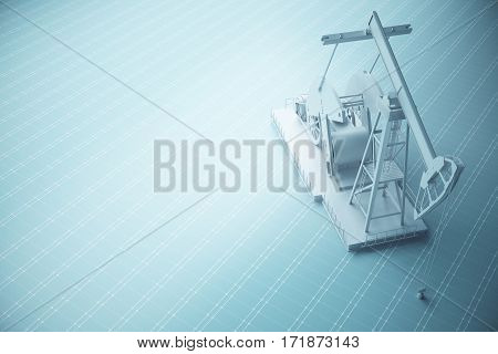 Top view of one white oil pump on blue mesh background. Industry concept. 3D Rendering