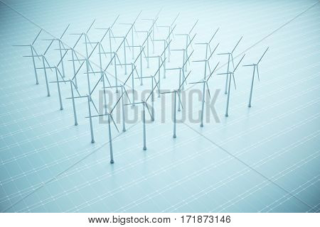Square of windmills on blue mesh background. Sustainbility concept. 3D Rendering
