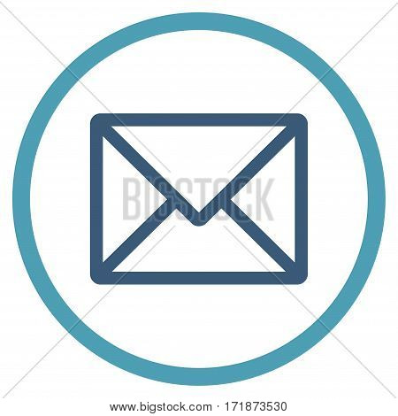 Letter rounded icon. Vector illustration style is flat iconic bicolor symbol inside circle cyan and blue colors white background.