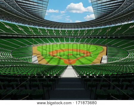 3D render of baseball stadium with green seats VIP boxes and floodlights for hundred thousand people