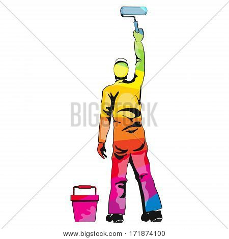 Painter paint roller multicolored wall vector illustration