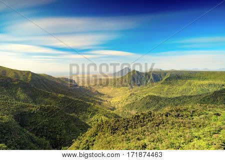 View from the Gorges viewpoint. Black River Gorges national park. Mauritius.
