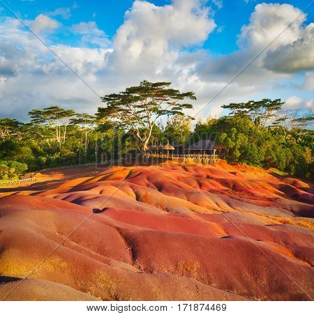 View of the seven colour earth. Mauritius.