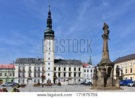square and plague column in town Litovel in Czech republic
