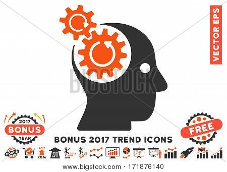 Orange And Gray Brain Gears Rotation pictograph with bonus 2017 year trend elements. Vector illustration style is flat iconic bicolor symbols white background.