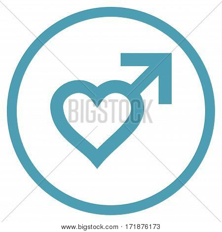 Male Heart rounded icon. Vector illustration style is flat iconic bicolor symbol inside circle cyan and blue colors white background.