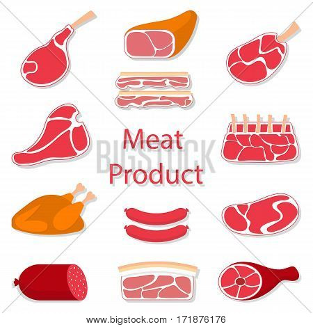 Meat products vector flat illustration, beef steak, lamb chop, pork, chicken and sausages.