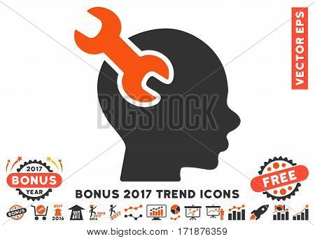 Orange And Gray Brain Service Wrench pictogram with bonus 2017 trend symbols. Vector illustration style is flat iconic bicolor symbols white background.