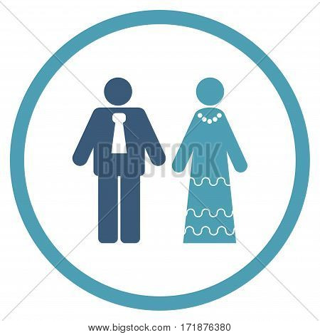 Newlyweds rounded icon. Vector illustration style is flat iconic bicolor symbol inside circle cyan and blue colors white background.