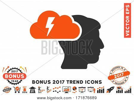 Orange And Gray Brainstorming pictogram with bonus 2017 year trend clip art. Vector illustration style is flat iconic bicolor symbols white background.