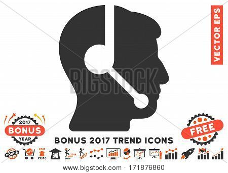 Orange And Gray Call Center Operator pictogram with bonus 2017 year trend elements. Vector illustration style is flat iconic bicolor symbols white background.