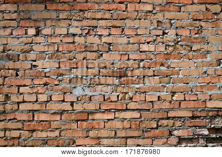 Structure of old damage red brick work