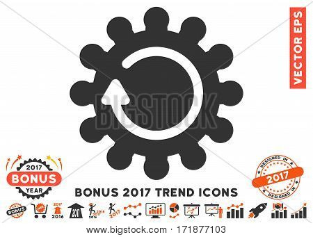 Orange And Gray Cog Rotation icon with bonus 2017 trend pictograph collection. Vector illustration style is flat iconic bicolor symbols white background.
