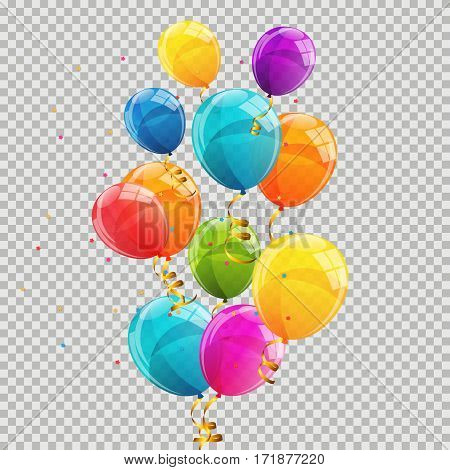 Color Glossy Balloons Transparent Background Vector Illustration EPS10
