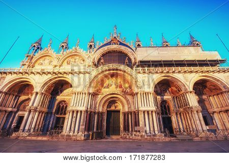The Patriarchal Cathedral Basilica of Saint Mark at the Piazza San Marco. Venice, Italy
