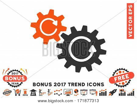 Orange And Gray Cogs Rotation icon with bonus 2017 year trend clip art. Vector illustration style is flat iconic bicolor symbols white background.