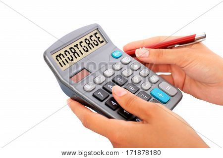 Loan calculator isolated over white. Real estate investment.