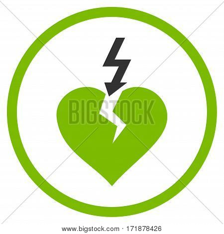 Break Heart rounded icon. Vector illustration style is flat iconic bicolor symbol inside circle eco green and gray colors white background.