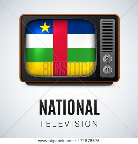 Vintage TV and Flag of Central African Republic as Symbol National Television. Tele Receiver with flag colors