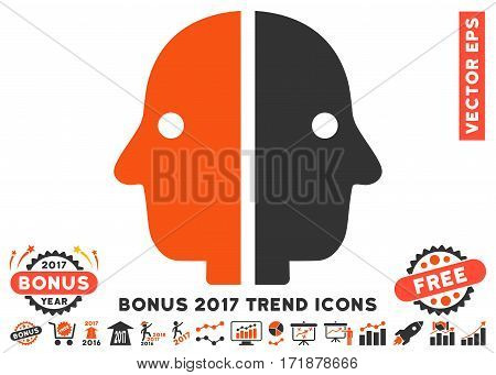 Orange And Gray Dual Face icon with bonus 2017 trend pictograms. Vector illustration style is flat iconic bicolor symbols white background.
