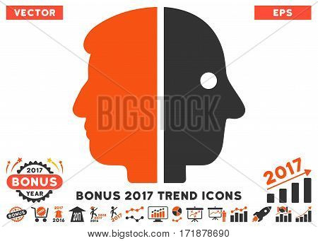 Orange And Gray Dual Face pictograph with bonus 2017 trend elements. Vector illustration style is flat iconic bicolor symbols white background.