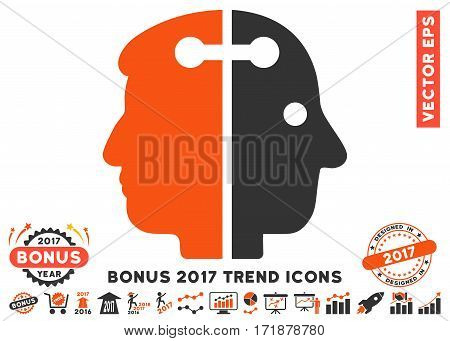 Orange And Gray Dual Head Connection pictogram with bonus 2017 trend pictograms. Vector illustration style is flat iconic bicolor symbols white background.