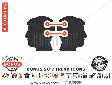 Orange And Gray Dual Heads Interface Connection pictogram with bonus 2017 trend clip art. Vector illustration style is flat iconic bicolor symbols white background.