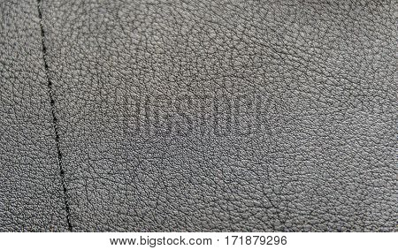 Full frame texture of black leatherette - artificial leather.