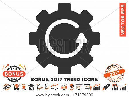 Orange And Gray Gear Rotation pictograph with bonus 2017 year trend pictograph collection. Vector illustration style is flat iconic bicolor symbols white background.