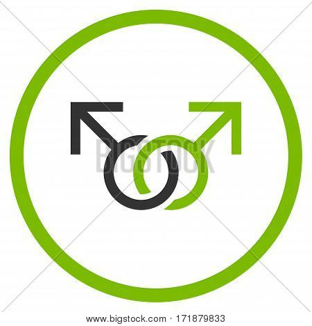 Gay Love Symbol rounded icon. Vector illustration style is flat iconic bicolor symbol inside circle eco green and gray colors white background.