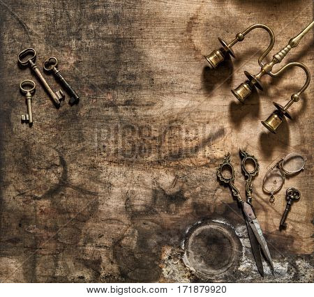 Vintage items scissors keys. Nostalgic still life flat lay