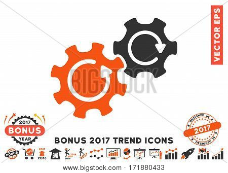 Orange And Gray Gears Rotation pictograph with bonus 2017 trend clip art. Vector illustration style is flat iconic bicolor symbols white background.