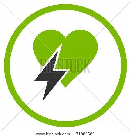 Heart Shock rounded icon. Vector illustration style is flat iconic bicolor symbol inside circle eco green and gray colors white background.