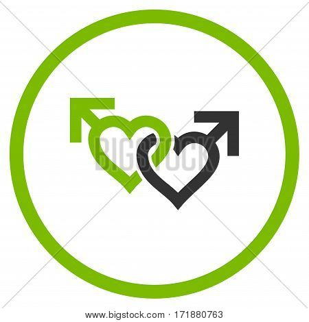 Linked Gay Hearts rounded icon. Vector illustration style is flat iconic bicolor symbol inside circle eco green and gray colors white background.
