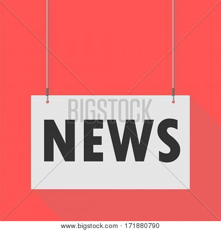 Simple Hanging Sign news on red background