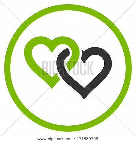 Linked Hearts rounded icon. Vector illustration style is flat iconic bicolor symbol inside circle eco green and gray colors white background.