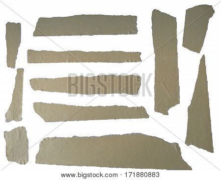 A set of brown masking tape pieces