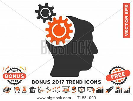 Orange And Gray Head Cogs Rotation icon with bonus 2017 year trend elements. Vector illustration style is flat iconic bicolor symbols white background.