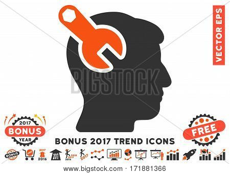 Orange And Gray Head Neurology Wrench pictogram with bonus 2017 year trend pictograms. Vector illustration style is flat iconic bicolor symbols white background.